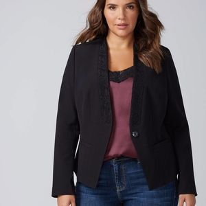 NEW PLUS SIZE BLACK LACE LAPEL BLAZER JACKET